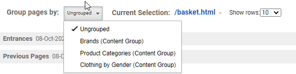 Image showing that you can display page count in Google Analytics using grouped content types